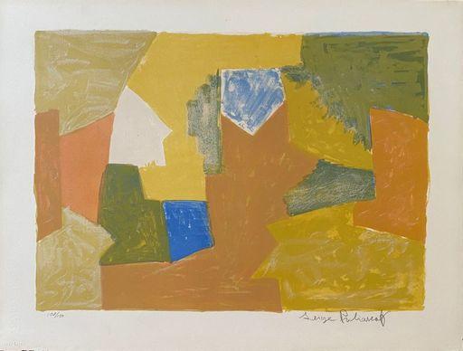 Serge POLIAKOFF - Estampe-Multiple - Composition jaune, Orange et Verte L14