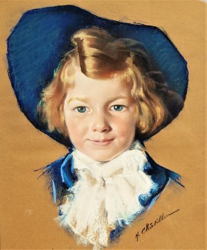 """Henri Guillaume CHATILLON - Disegno Acquarello - Portrait d'enfant. """" En matelot """""""