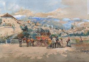 Enrique MARÍN HIGUERO - Zeichnung Aquarell - Vista de la ciudad