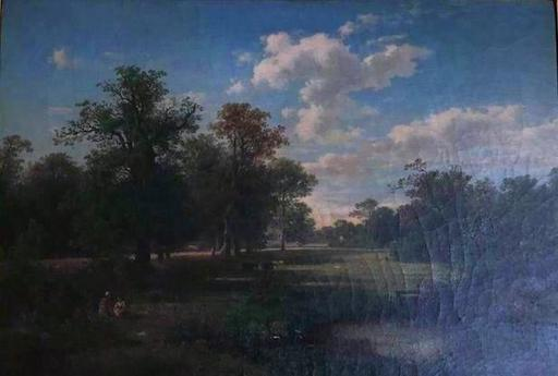 August WEBER - Pintura - Landschap met vijvertje