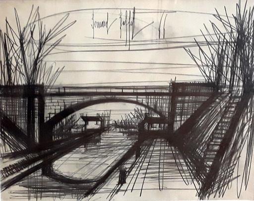 Bernard BUFFET - Dessin-Aquarelle - Le canal
