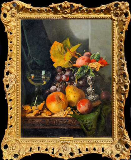 Edward LADELL - 绘画 - Still Life with Silver Tazza, Glass Roemer and Fruit