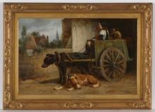 "Henriette RONNER - Painting - ""Milk Suppliers"", Oil on Canvas"