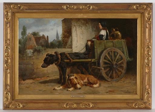 "Henriette RONNER - Pintura - ""Milk Suppliers"", Oil on Canvas"