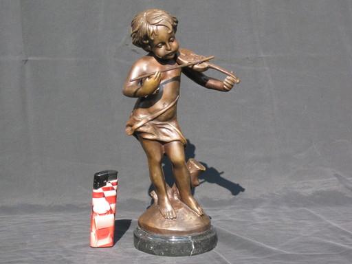 Charles VALTON - Sculpture-Volume - Knabe mit Geige