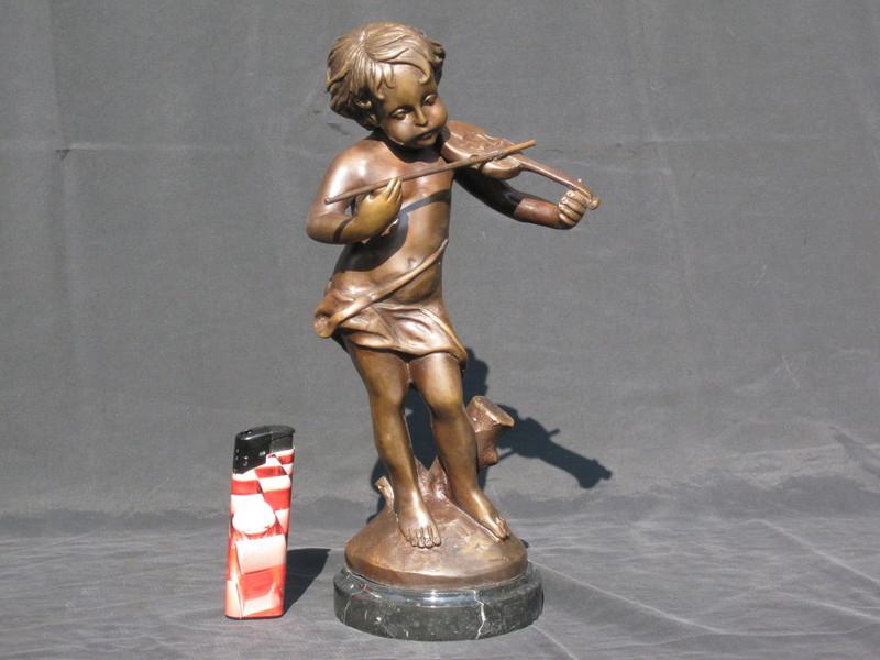 Charles VALTON - 雕塑 - Knabe mit Geige