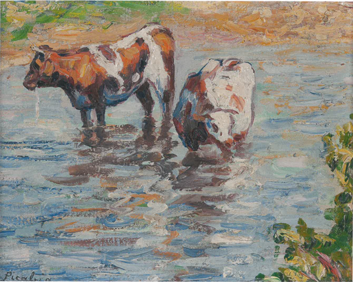 Francis PICABIA - Painting - Untitled ou Deux vaches s'abreuvant
