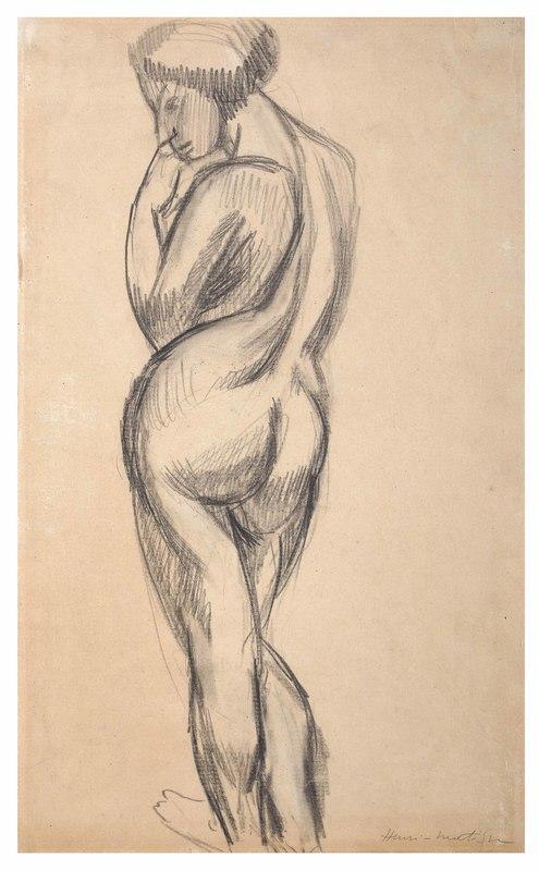 Henri MATISSE - Dessin-Aquarelle - Nudo in piedi