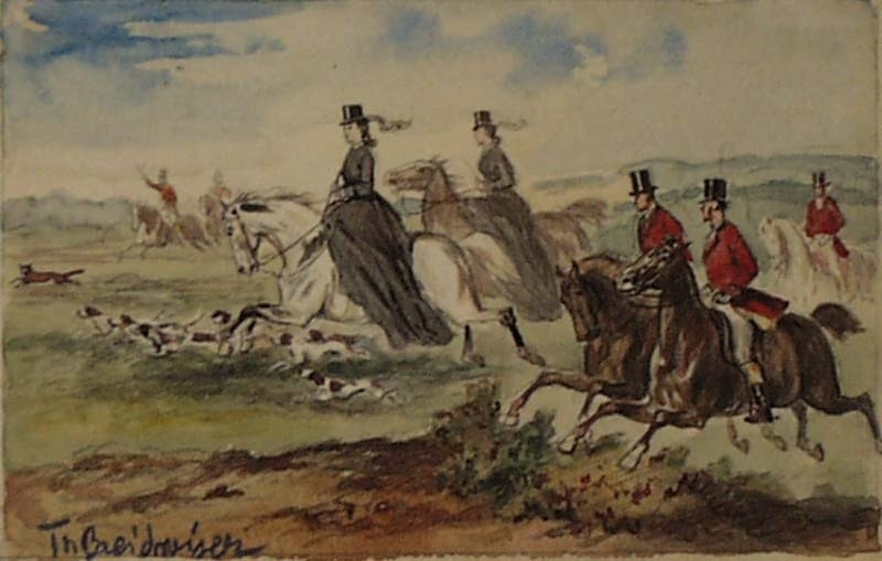 "Theodor BREITWIESER - Drawing-Watercolor - ""Empress Elisabeth of Austria Fox Hunting"", ca 1880"