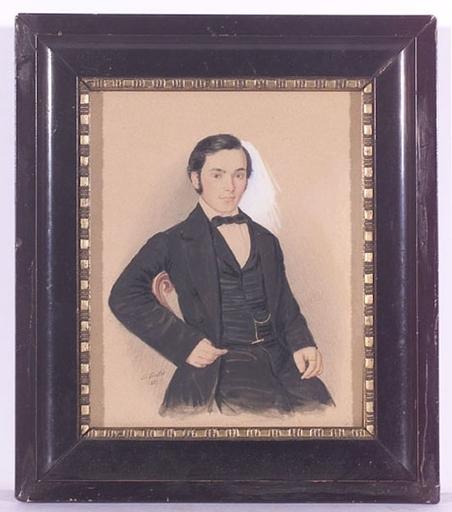 """Heinrich FERSTLER - Drawing-Watercolor - """"Portrait of a Young Gentleman"""", Watercolor, 1857"""