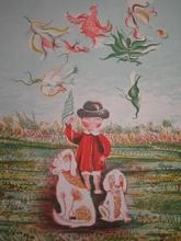 Annette OLLIVARY - Grabado - Fillette aux chiens,1965.
