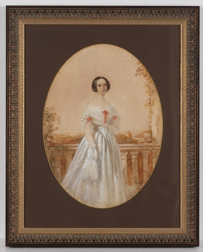 """James T. Herve D'EGVILLE - Miniature - """"Portrait of a Young Lady"""", 1840, Watercolor"""
