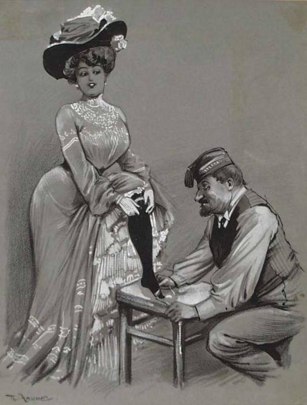"Theodor ZASCHE - Drawing-Watercolor - ""Shoemaker"" by Theodor Zasche, ca 1900"