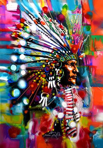 Rémi BERTOCHE - Painting - Indian Face