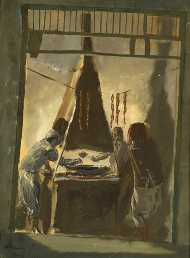 Alexander Evgenevich IACOVLEFF - Painting - Sausage Markrt in Tunis