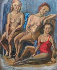 Max Hermann MAXY - Pintura - Trois femmes nues, 1943