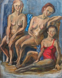 Max Hermann MAXY - Painting - Trois femmes nues, 1943