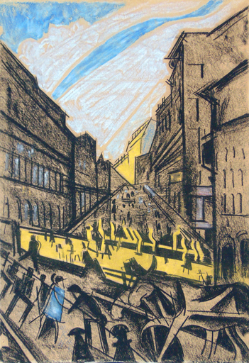 Hugo SCHEIBER - Drawing-Watercolor - The Rhythm of the City