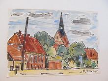Rolf DIENER - Dibujo Acuarela - Stadtansicht mit Backsteinkirche