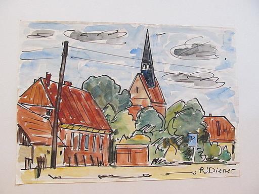 Rolf DIENER - Drawing-Watercolor - Stadtansicht mit Backsteinkirche