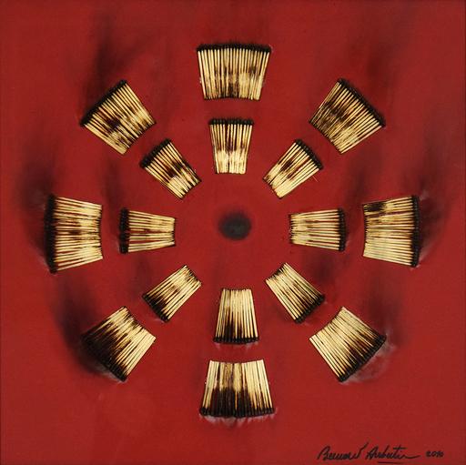 Bernard AUBERTIN - Painting - Dessin de Feu sur Table Rouge