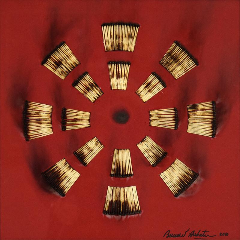 Bernard AUBERTIN - Peinture - Dessin de Feu sur Table Rouge