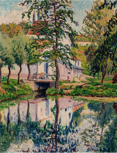 Gustave CARIOT - Painting - Moulin de Perigny, reflexions sur l'eau