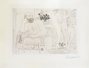Pablo PICASSO - Grabado - Sculpteur et trois danseuses sculptées - from Suite Vollard