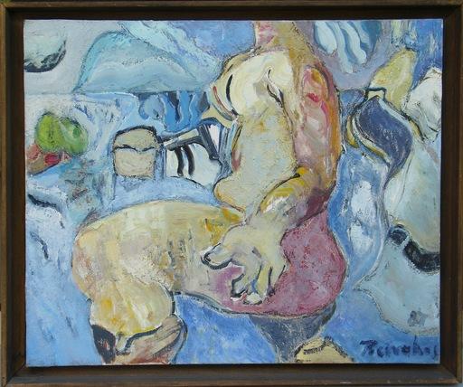 """Alkis PIERRAKOS - Gemälde - """"La femme aux bottes rouges"""""""