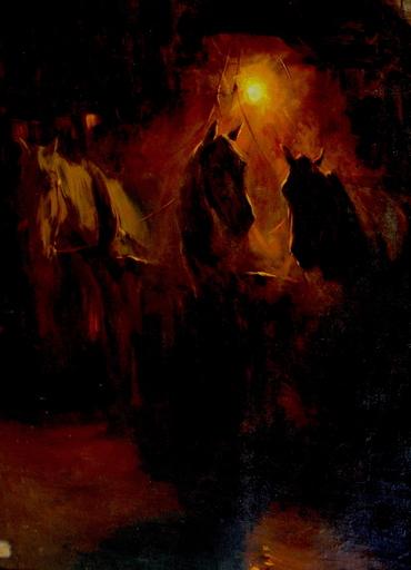 Ulpiano CHECA Y SANZ - Painting - Diligence nocturne -  Paris  - Cheval - Horse