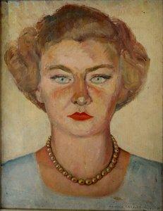 Marthe CAUBIOS - Painting -  « JEUNE FEMME AUX YEUX CLAIR »