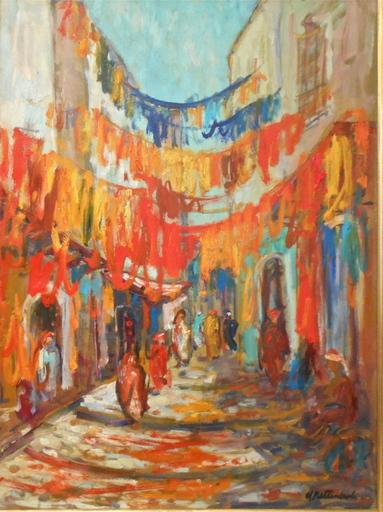 André PETTINEROLI - Painting - Souk aux tissus, marché oriental