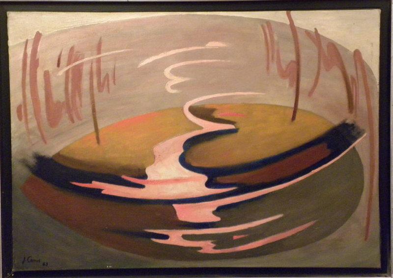 Jacques CAMUS - Peinture - abstraction bleue et rose