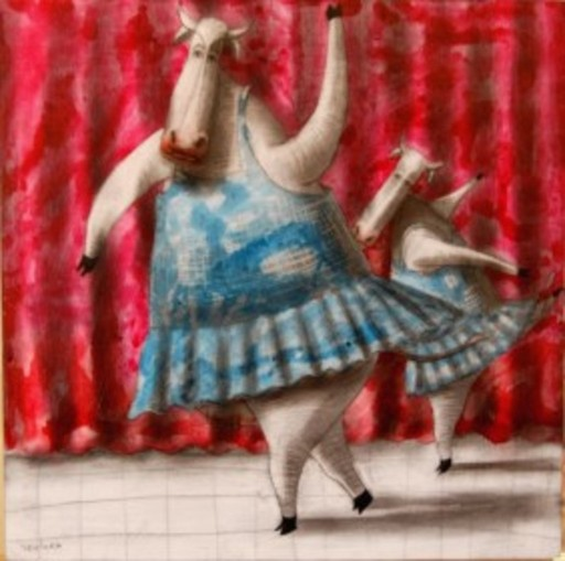 "Jorge VALLEJOS - Painting - ""Vaquita bailando ballet IV"""