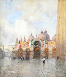 Mary S. HAGARTY - Dibujo Acuarela - VENISE - PLACE St MARC
