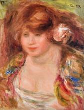 奥古斯特•雷诺阿 - 绘画 - Femme à la Rose, Andrée