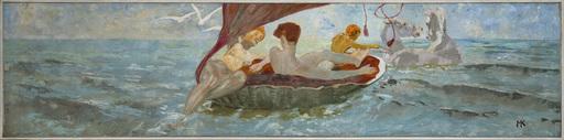 Max KLINGER - Pittura - Venus im Muschelwagen