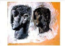 Mario SIRONI - Drawing-Watercolor - 2 Teste