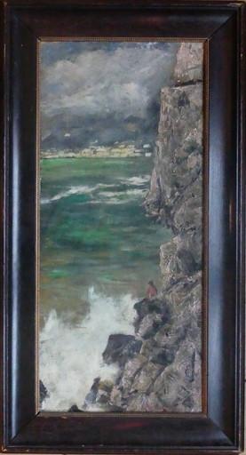 Hermione VON PREUSCHEN - Peinture - Pêcheur sous la falaise