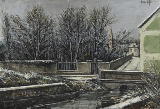 Bernard BUFFET - Painting - Elizy, Le Vieux pont et l'église en hiver