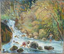 Gabriel BELOT - Painting - Pêche à la truite dans le Gapeau