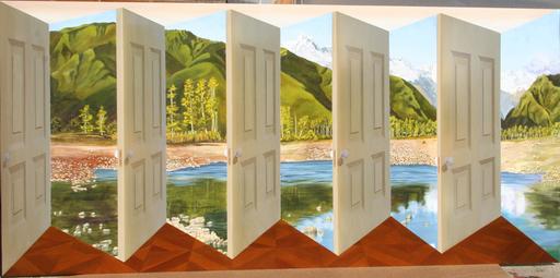 Patrick HUGHES - Painting - Pleasure Island