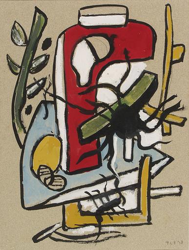 Fernand LÉGER - Peinture - Araignée et forme rouge