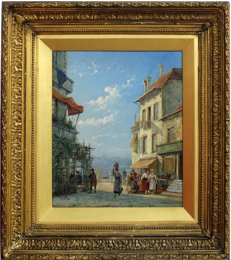 William Raymond DOMMERSEN - Painting - Veduta costiera con personaggi