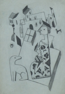 Béla KADAR - Drawing-Watercolor -  Constructivist Cityscape with Mother, Child and a Dog