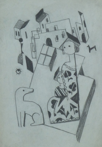 Béla KADAR - Disegno Acquarello -  Constructivist Cityscape with Mother, Child and a Dog
