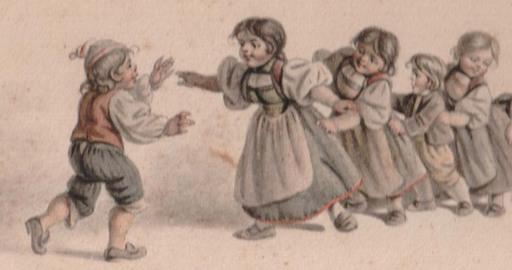 Gottfried MIND - Dibujo Acuarela - enfants jouant