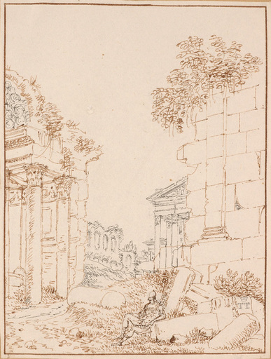 "Lancelot Théodore TURPIN DE CRISSÉ - Dibujo Acuarela - ""Antique Ruins"", early 19th Century"