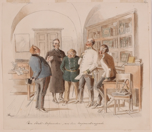 """Victor ODESCALCHI - Dessin-Aquarelle - """"Scene in the Headquarters"""", Watercolour, 1870"""