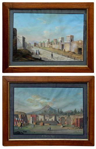 Francesco I FERGOLA - Gemälde - Pair of Views of Pompeii